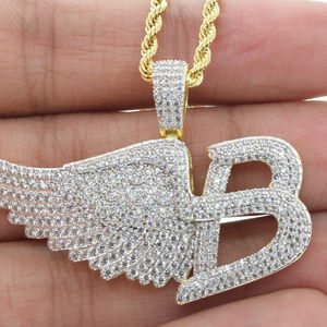 Other - Micro Pave B-Wing Charm  Iced Out with Rope Chain